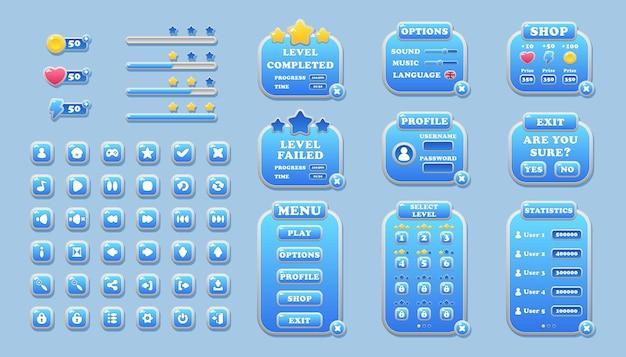 Elementos de interface para botões de design de jogos e aplicativos