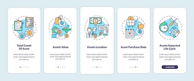Elementos de inventário de ativos que integram a tela da página do aplicativo móvel com ilustração de conceitos