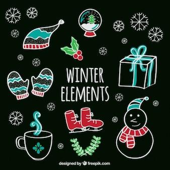 Elementos de inverno em estilo desenhado mão