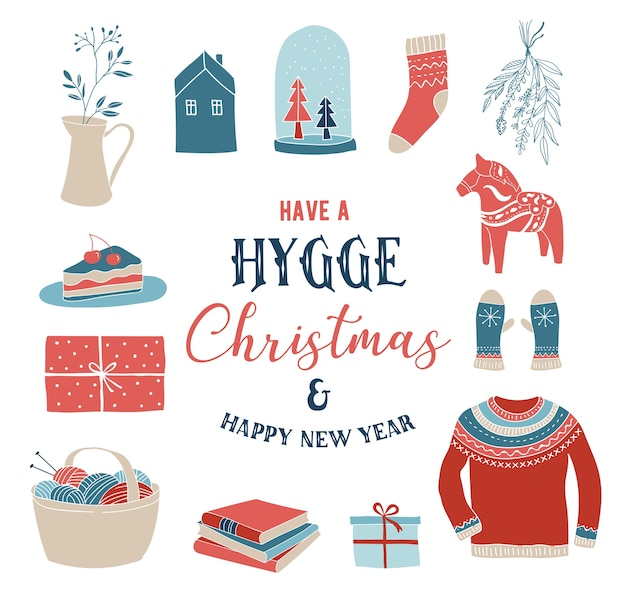 Elementos de inverno hygge e, cartão de feliz natal, banner, plano de fundo, ilustração vetorial