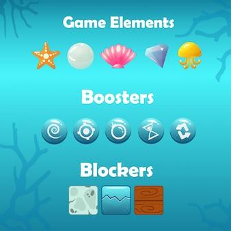 Elementos de jogo subaquático, boosters e bloqueadores