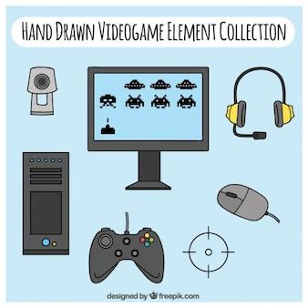 Elementos de jogos de vídeo desenhados mão