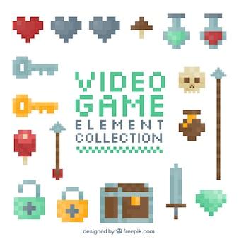 Elementos de jogos de vídeo pixelated