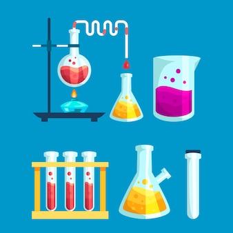 Elementos de laboratório de ciência de mão desenhada
