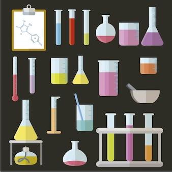 Elementos de laboratório em design plano
