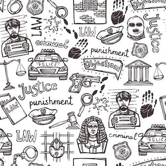 Elementos de lei doodle padrão sem emenda de esboço