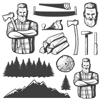 Elementos de lenhador vintage