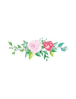 Elementos de linda flor aquarela