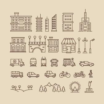 Elementos de linha da cidade