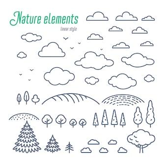 Elementos de linha de paisagem rural