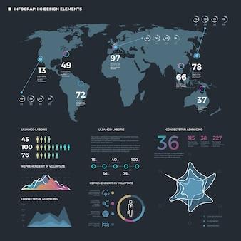 Elementos de linha fina de infográfico. modelo de infográficos de negócios