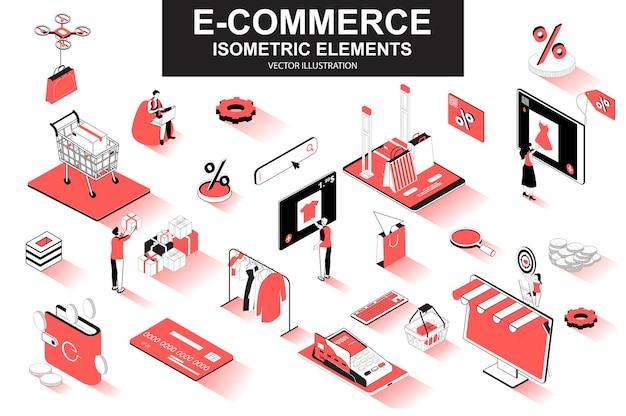 Elementos de linha isométrica 3d de comércio eletrônico