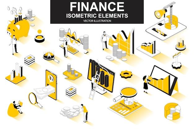 Elementos de linha isométrica 3d de finanças