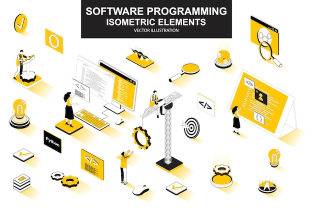 Elementos de linha isométrica 3d de programação de software