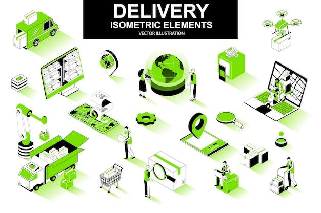 Elementos de linha isométrica 3d de serviço de entrega
