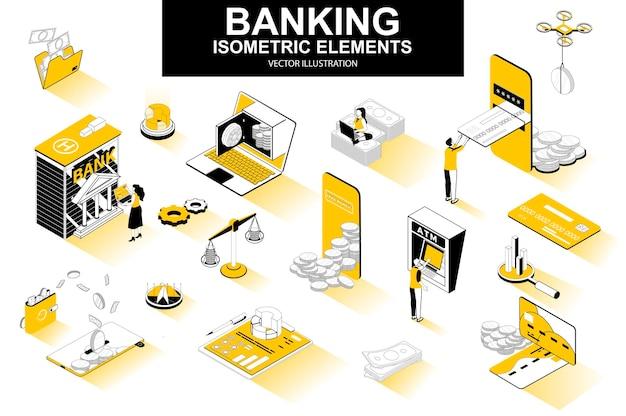Elementos de linha isométrica 3d de serviços bancários