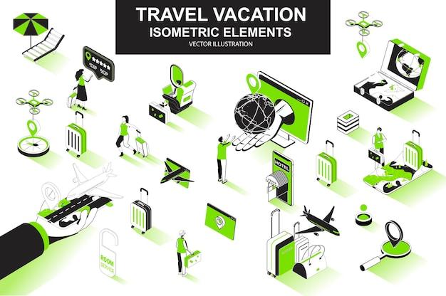 Elementos de linha isométrica 3d de viagens de férias