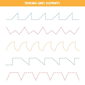 Elementos de linhas de rastreamento para fazer planilha. prática de caligrafia para crianças.