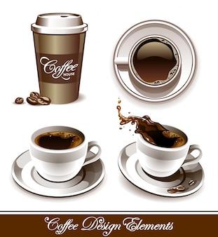 Elementos de loja de café desenhados à mão