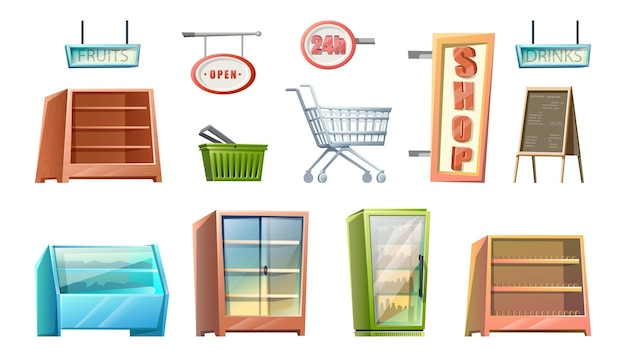 Elementos de loja de supermercado estilo desenho animado isolado no branco