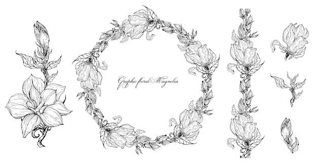 Elementos de magnólia floral brilhante para design