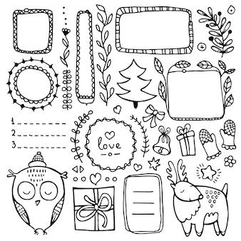 Elementos de mão desenhada de diário de bala para notebook, diário e planejador. conjunto de quadros de doodle, elementos florais isolados no fundo branco.