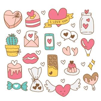 Elementos de mão desenhada dos namorados