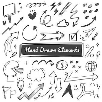 Elementos de mão desenhada, seta, rabiscos swish