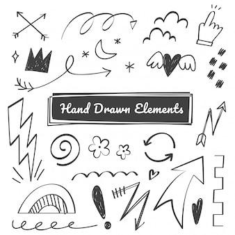 Elementos de mão desenhada, seta, swish, rabiscos de ênfase