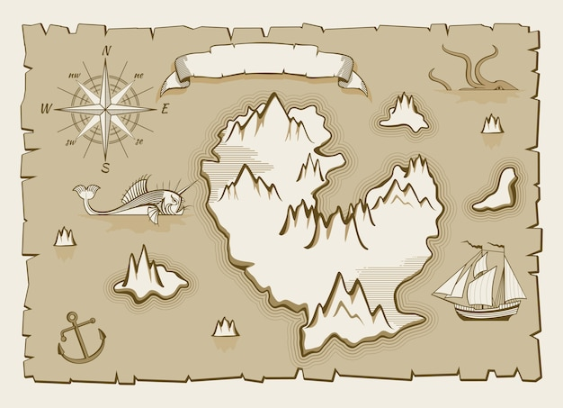 Elementos de mapa de vetor vintage pergaminho
