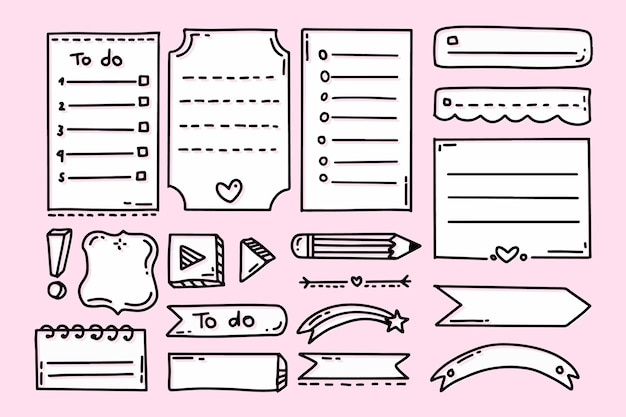 Elementos de marcador de diário com fundo rosa
