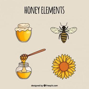 Elementos de mel desenhados mão