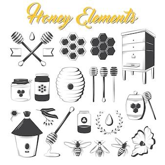 Elementos de mel vintage