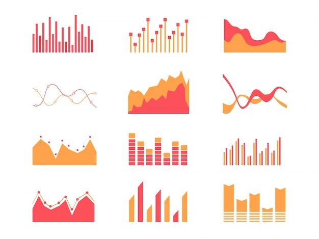 Elementos de mercado de dados de negócios diagramas de diagramas de tabelas de barra de ponto e gráficos ícones planos conjunto ilustração vetorial isolada.