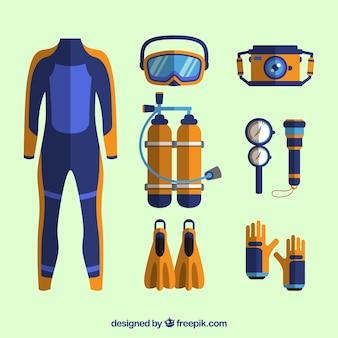 Elementos de mergulho com roupa de mergulho em design plano
