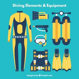 Elementos de mergulho e equipamentos em design plano em cores azuis e amarelas