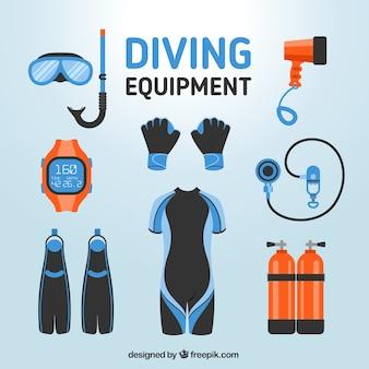Elementos de mergulho em design plano