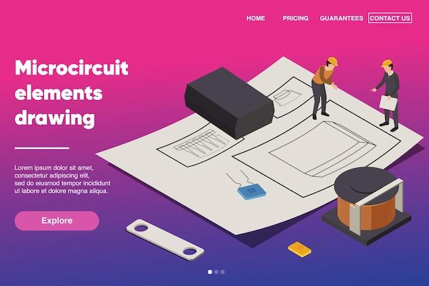 Elementos de microcircuito desenhando modelo de página de destino