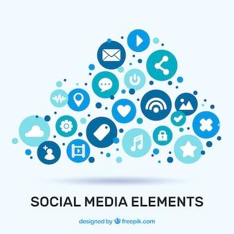 Elementos de mídia social em forma de nuvem em estilo simples