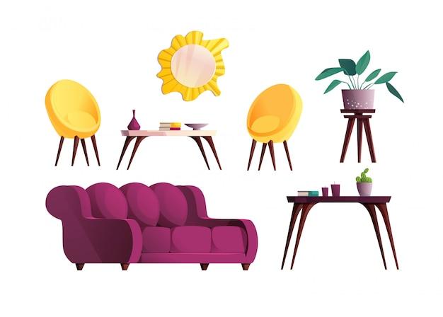 Elementos de mobiliário de sala de luxo. sofá vermelho e poltrona amarela, espelho, planta em um local, mesa.