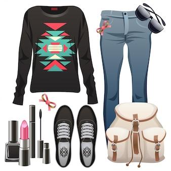 Elementos de moda feminina.