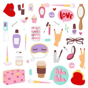 Elementos de moda para meninas.