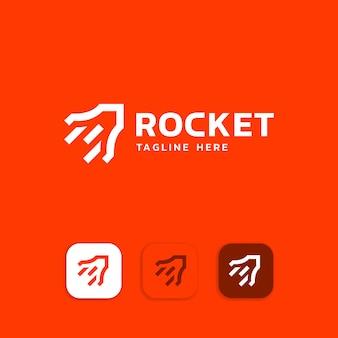 Elementos de modelo de design de ícone de logotipo de foguete