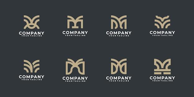 Elementos de modelo de ícones de logotipo criativo letra m, coleção de design de logotipo