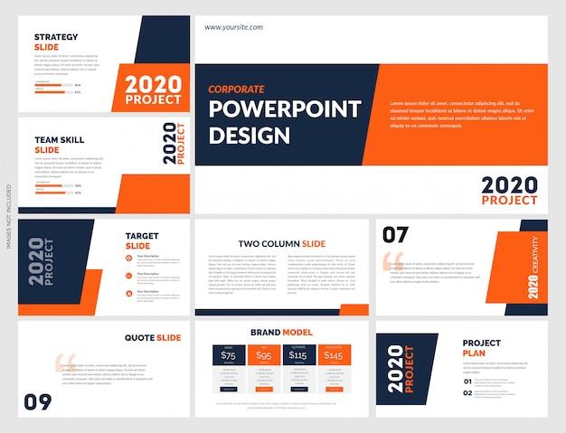 Elementos de modelos de apresentação criativa laranja azul
