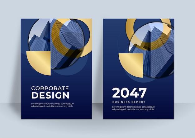 Elementos de modelos de apresentação de capa azul e dourada