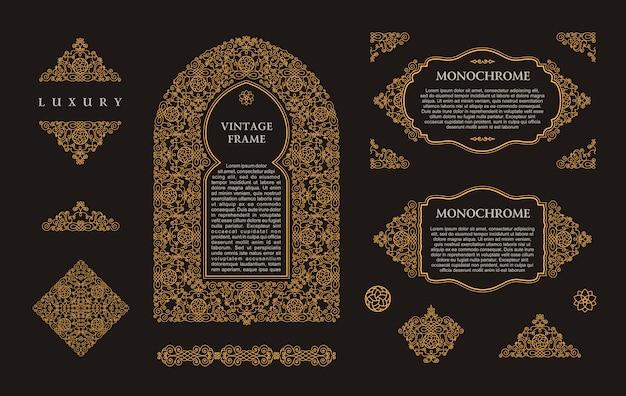 Elementos de molduras douradas árabes