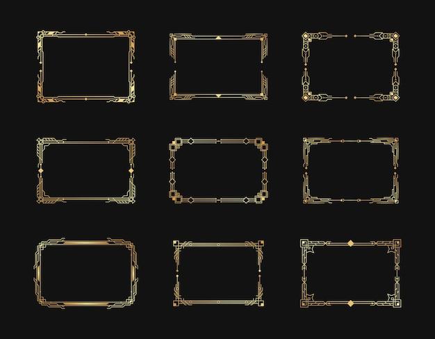 Elementos de molduras e bordas ornamentadas geométricas em estilo retrô de luxo dos anos 1920.