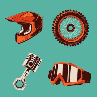 Elementos de motocross de design retro