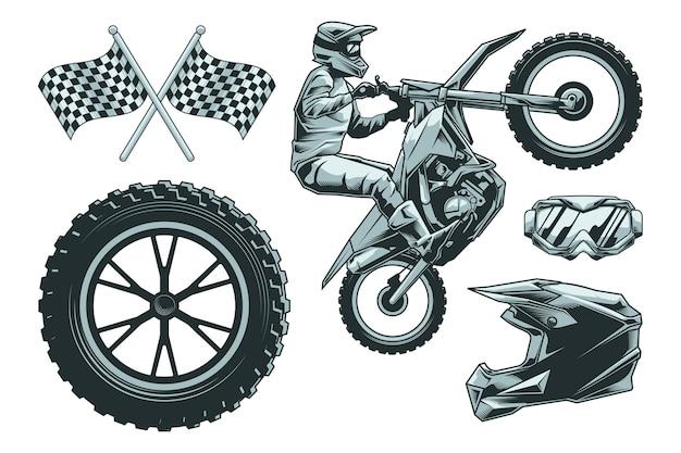 Elementos de motocross retrô
